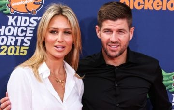 Steven Gerrard and wife Alex Gerrard arrive at the Nickelodeon Kids' Choice Sports Awards 2015