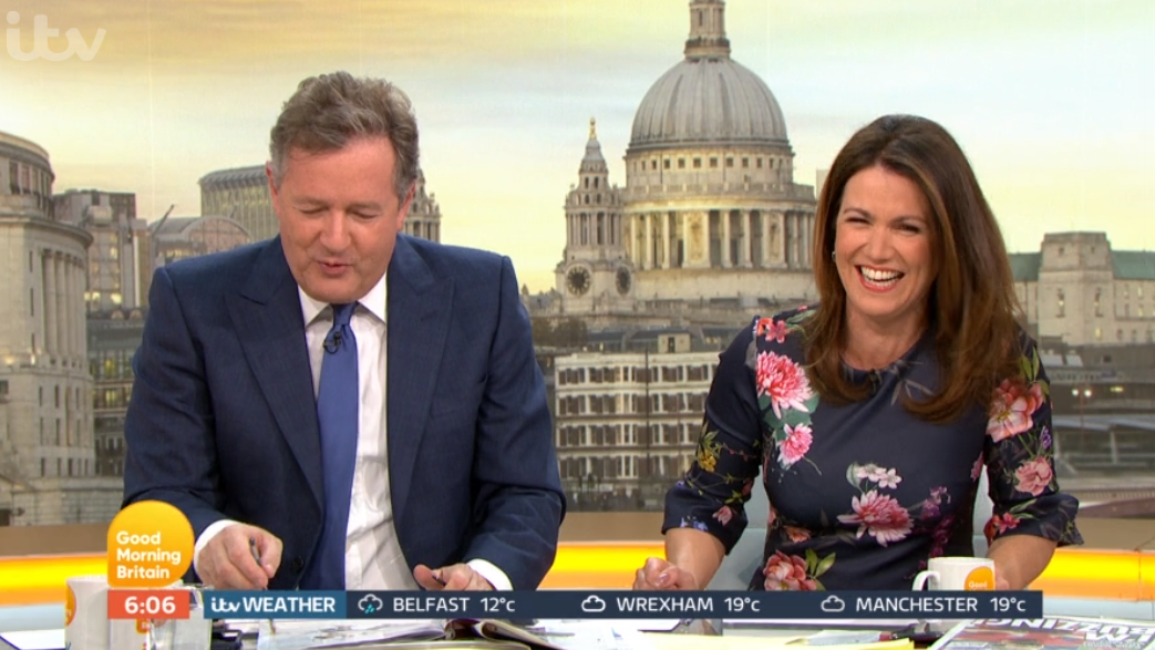 Susanna Reid left blushing as Piers Morgan teases her on love life