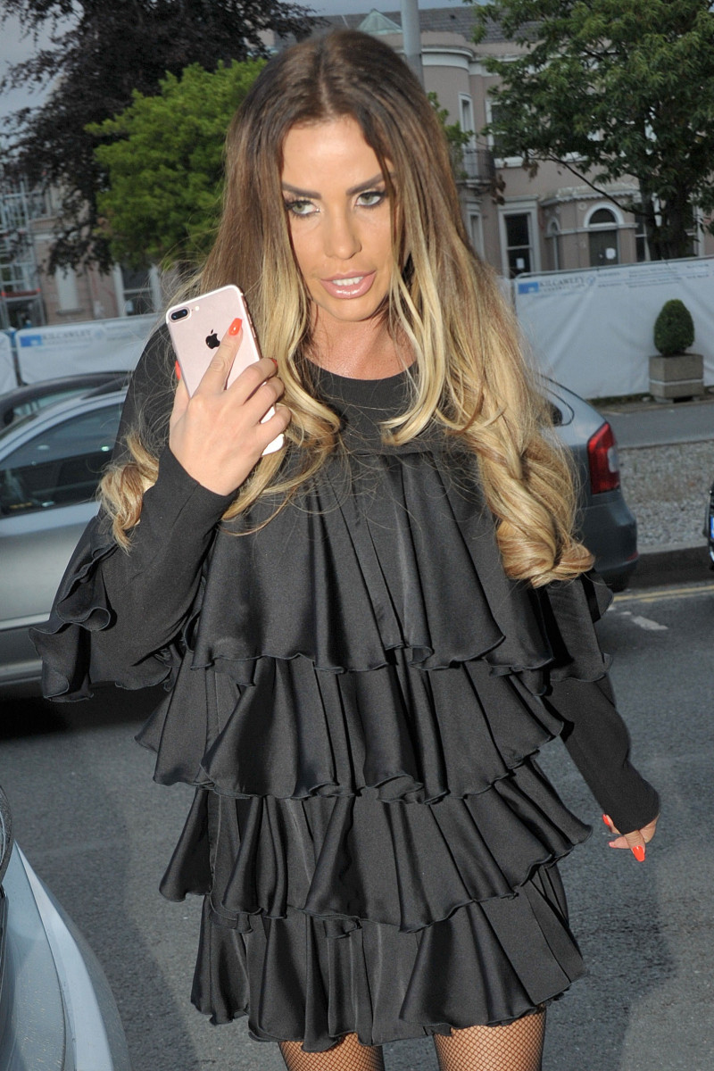 Katie Price is seen arriving at the RTE studios in Dublin, Irelandq