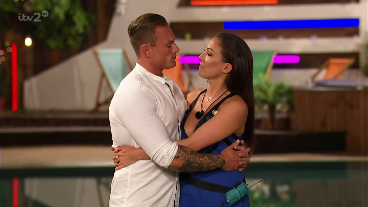 Tom Powell and Sophie Gradon after Powell was eliminated from the ITV reality show 'Love Island'. Broadcast on ITV2 HD.
