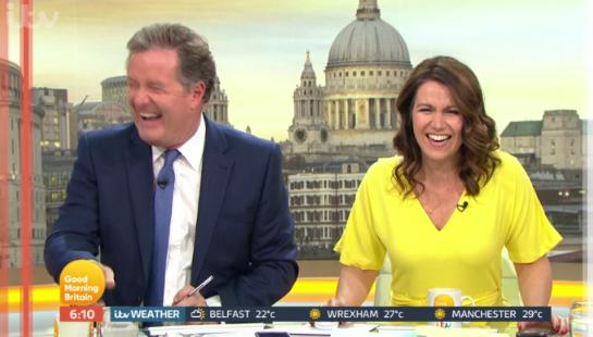 Piers Morgan and Susanna Reid giggle on GMB