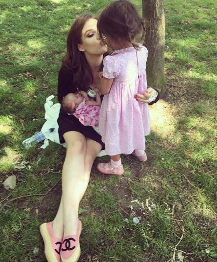 Helen Flanagan's day at the park with daughters Matilda and Delilah