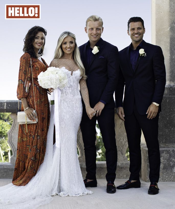 Michelle Keegan and Mark Wright at the wedding of Joshua Wright and Hollie Kane in Majorca