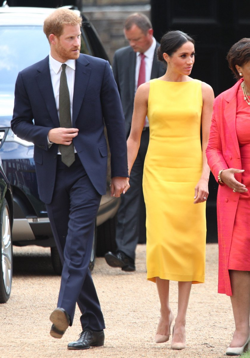 rince Harry, Duke of Sussex and Meghan, Duchess of Sussex arrive to attend the Your Commonwealth Youth Challenge reception at Marlborough House on July 05, 2018 in London, England. (Photo by Yui Mok - WPA Pool/Getty Images)