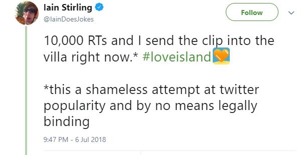 Iain Stirling tweet