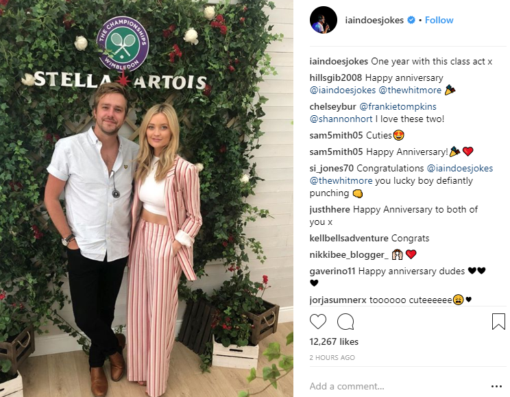 Laura Whitmore and Iain Stirling share sweet snaps as they celebrate first anniversary