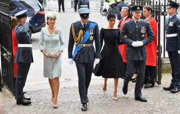 Catherine, Duchess of Cambridge, Prince William, Duke of Cambridge, Meghan, Duchess of Sussex and Prince Harry, Duke of Sussex attend as members of the Royal Family attend events to mark the centenary of the RAF on July 10, 2018 in London, England. (Photo by Jeff Spicer/Getty Images)