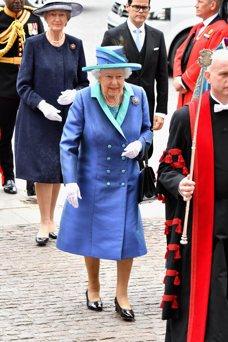 Queen Elizabeth II attends as members of the Royal Family attend events to mark the centenary of the RAF on July 10, 2018 in London, England. (Photo by Jeff Spicer/Getty Images)