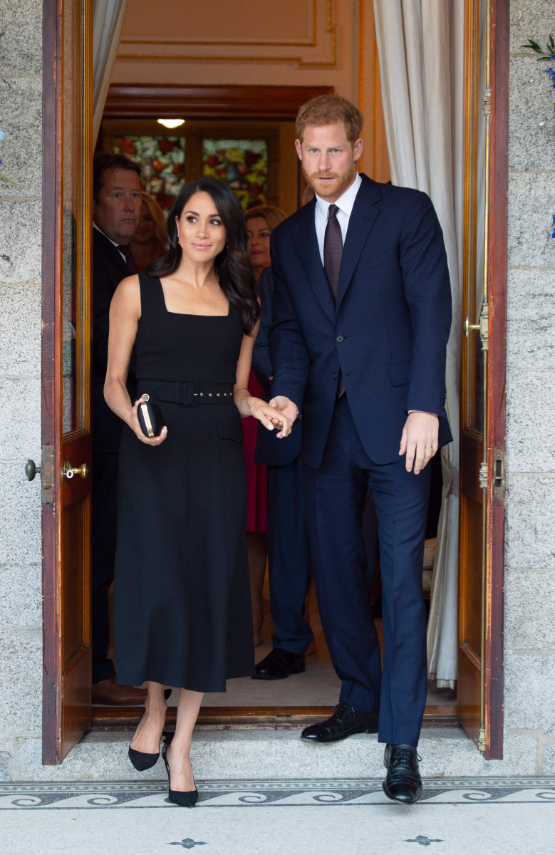 Prince Harry, The Duke and Duchess of Sussex and Meghan, the Duchess of Sussex attend a reception at the residence of Robin Barnett, the British Ambassador to Ireland