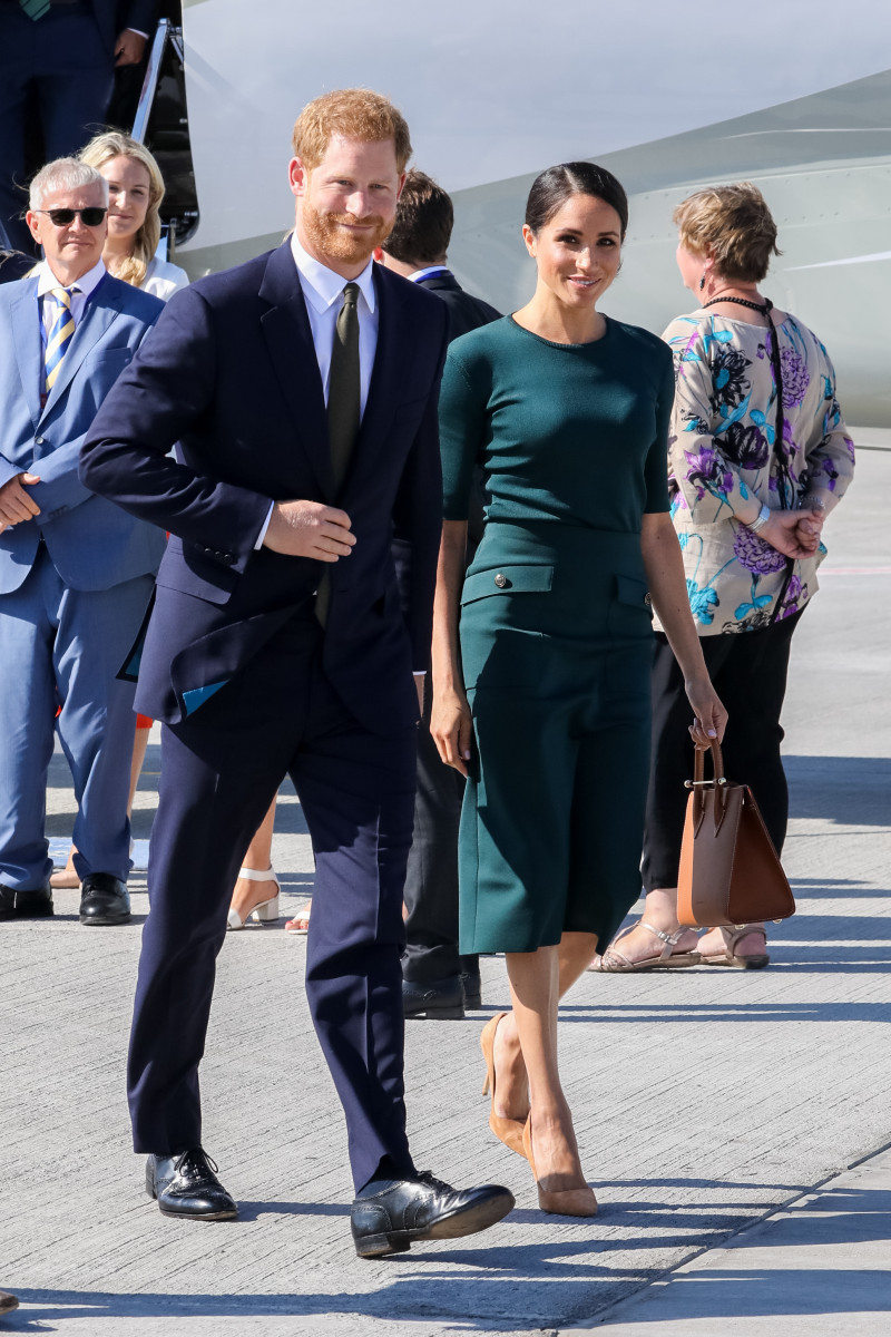 Their Royal Highnesses Prince Harry, The Duke of Sussex and Meghan, Duchess of Sussex arrive at Dublin City Airport, on the first of their two day visit to Dublin, Ireland.