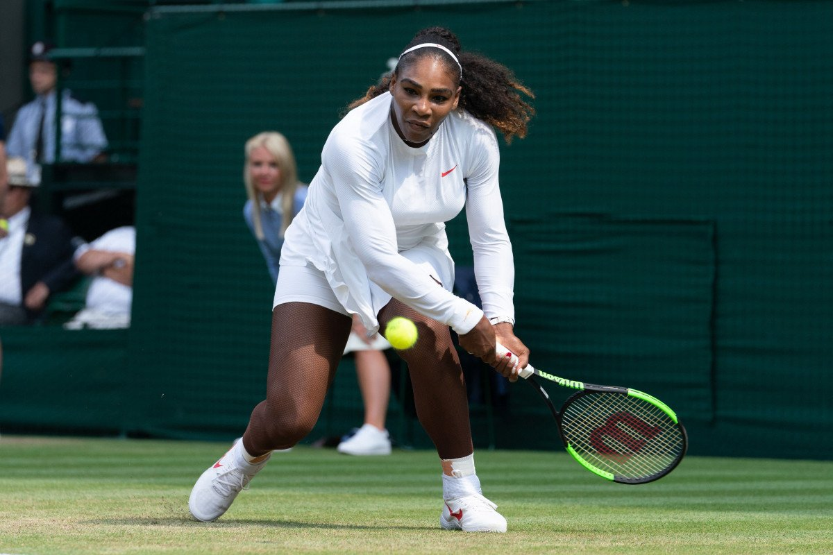 Serena Williams of the United States of America plays Evgeniya Rodina of Russia in the women's singles 4th round draw