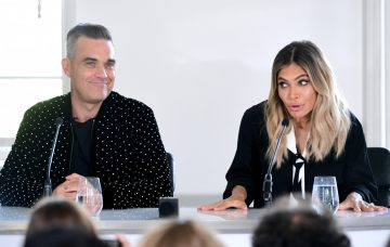 Robbie Williams and Ayda Field at X Factor press conference