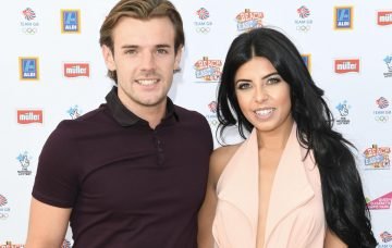Nathan Massey and Cara de la Hoyde arrive for the Team GB FanZone Opening Ceremony Party in Queen Elizabeth Olympic Park