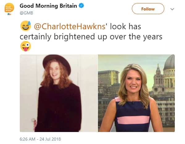 Charlotte Hawkins then and now (Credit: Twitter)