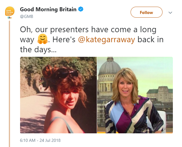 Kate Garraway then and now (Credit: Twitter)