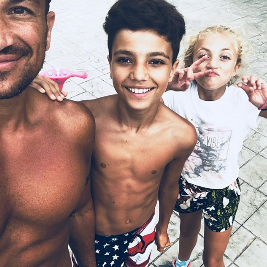 Peter Andre with son Junior and daughter Princess