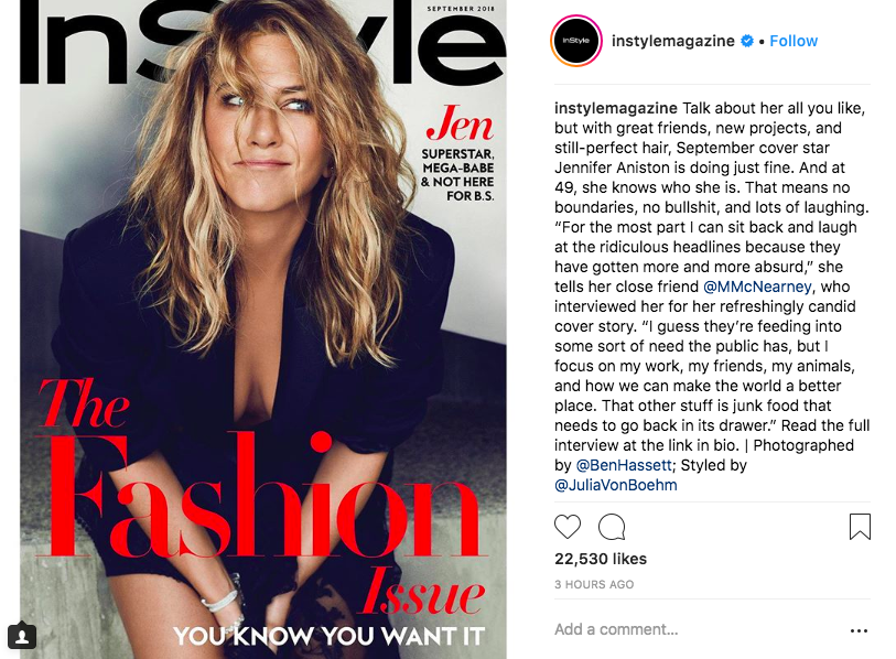 jennifer aniston instyle instagram