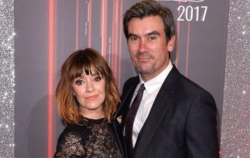 Zoe Henry (L) and Jeff Hordley attend The British Soap Awards at The Lowry Theatre