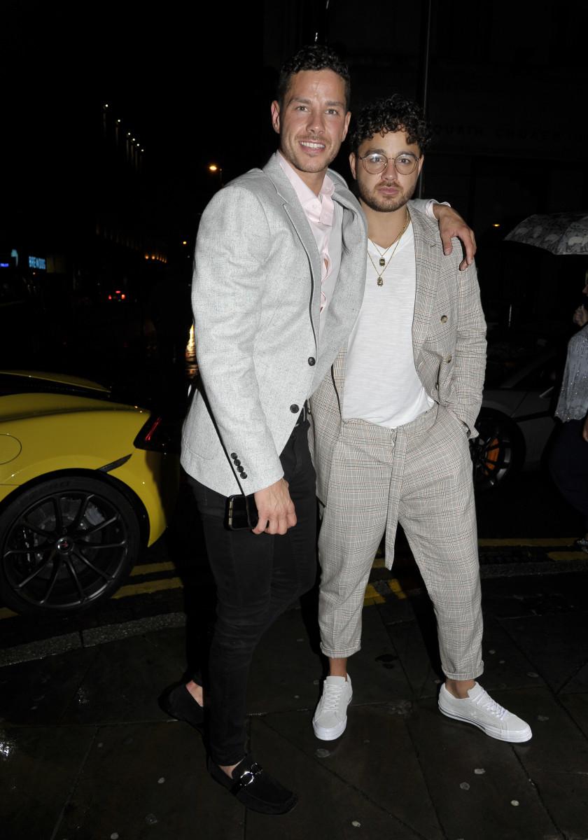 Scott and Adam thomas at their birthday party on Saturday night