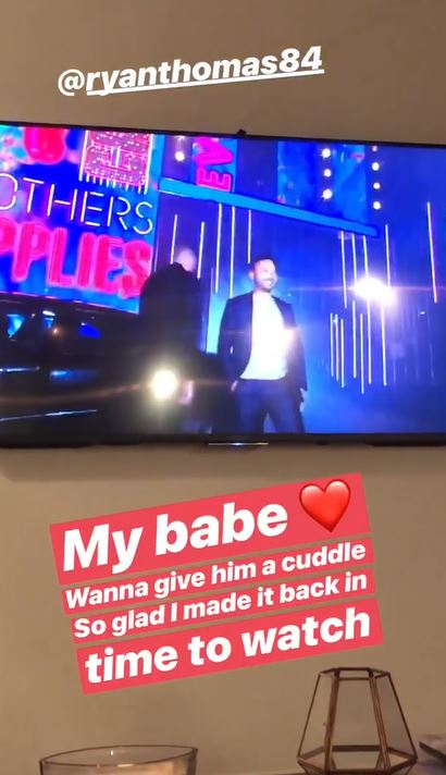 Lucy Mecklenburgh supports Ryan Thomas on CBB