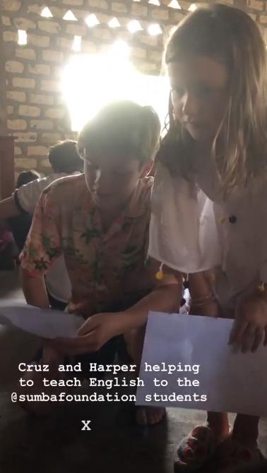Harper and Cruz teaching the kids English