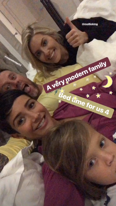 Frankie Bridge with husband, son and friend Mollie King