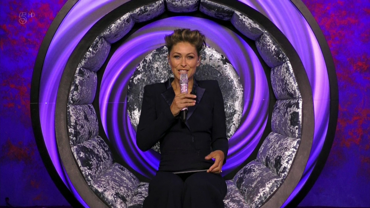 Emma Willis in the Celebrity Big Brother diary room chair