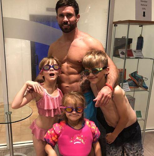 Kerry Katona's boyfriend Ryan Mahoney with the children