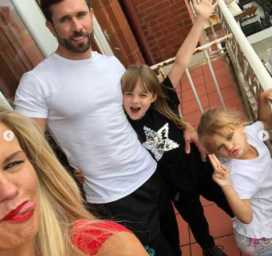Kerry Katona's boyfriend Ryan Mahoney with the children