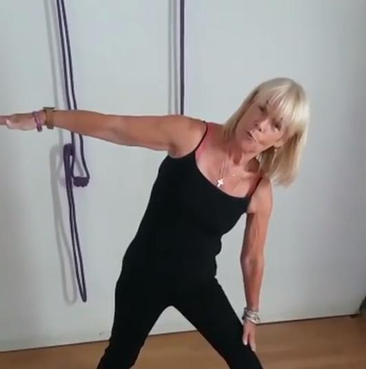 Linda Robson doing yoga