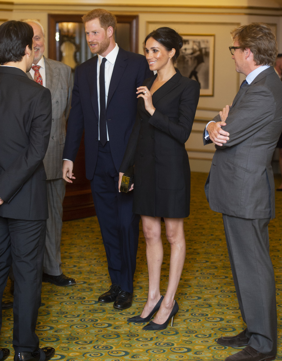Prince Harry, Duke of Sussex and Meghan, Duchess of Sussex speak with writer Lin Manuel Miranda and others from Sentibale as they attend a gala performance of 'Hamilton' in support of Sentebale at Victoria Palace Theatre on August 29, 2018 in London, England. (Photo by Dan Charity - WPA Pool/Getty Images)