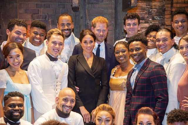 The Duke and Duchess of Sussex with the cast of Hamilton (Dan Charity/The Sun)