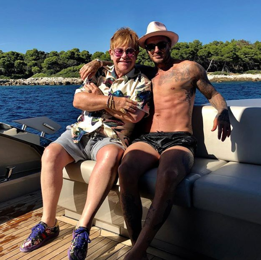 Elton John and David Beckham in France