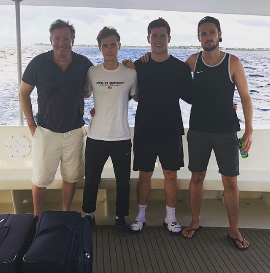 Piers Morgan with his three sons on holiday