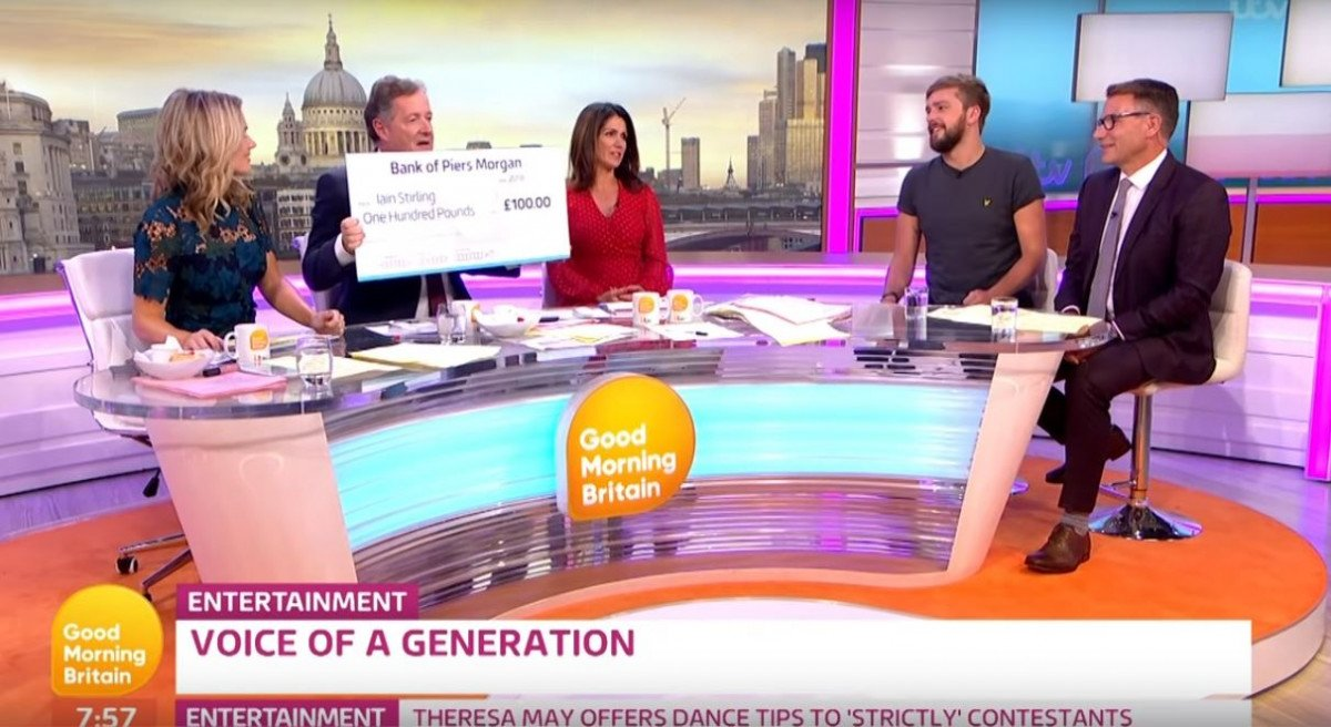 Piers Morgan loses bet to Iain Stirling