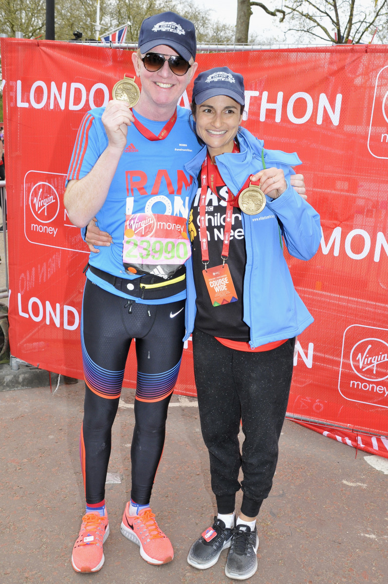 Chris Evans, Natasha Celebrities At The Finish Of The 2016 Virgin Money London Marathon In London