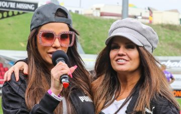 Katie Price and Alan Carr manage opposing teams in the Sellebrity Soccer match at Sixfields Stadium in Northampton