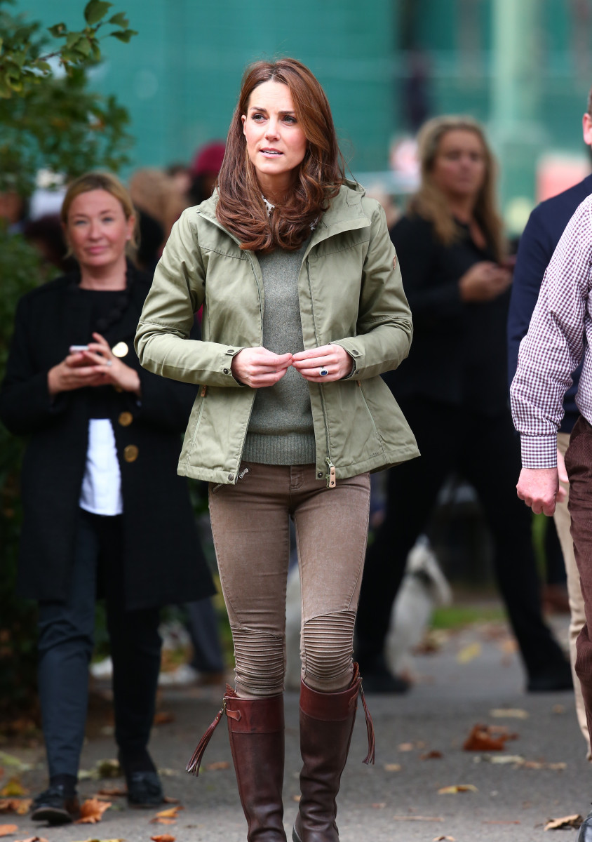 Catherine, Duchess of Cambridge visits the Sayers Croft Forest School and Wildlife Garden at Paddington Recreation Ground in Ewhurst, Surrey, her first official engagement after the birth of Prince Louis.