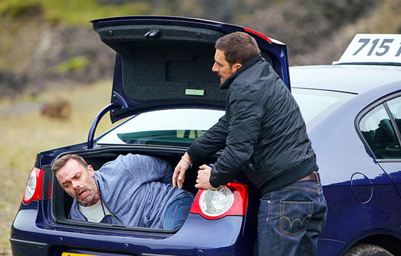 Billy was bundled in a car by Peter