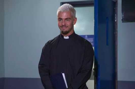 Joel poses as a vicar to come face to face with Pete in Hollyoaks