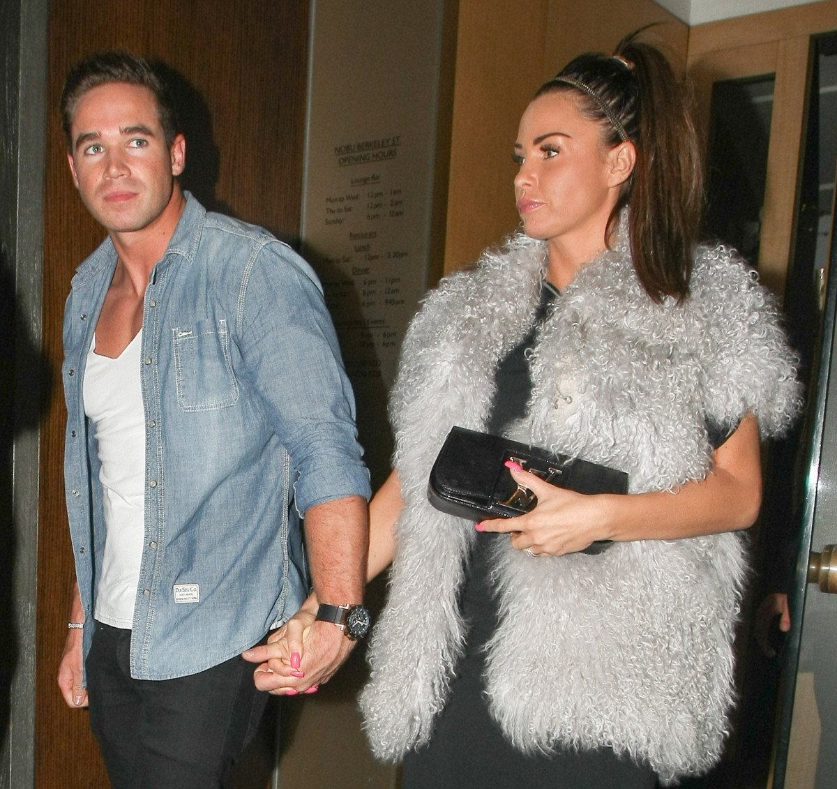 Katie Price and her new husband Kieran Hayler pictured leaving the Nobu Berkeley restaurant in Mayfair after enjoying a romantic Valentine's dinner together, London, UK