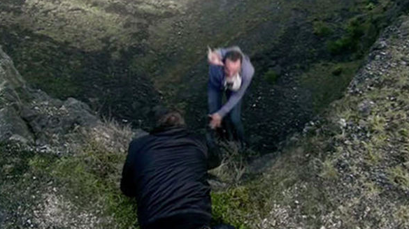 Billy Mayhew fell from a cliff last Christmas (Credit: ITV)