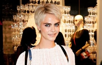 Cara Delevingne at launch of Cafe de Longchamps store in New York