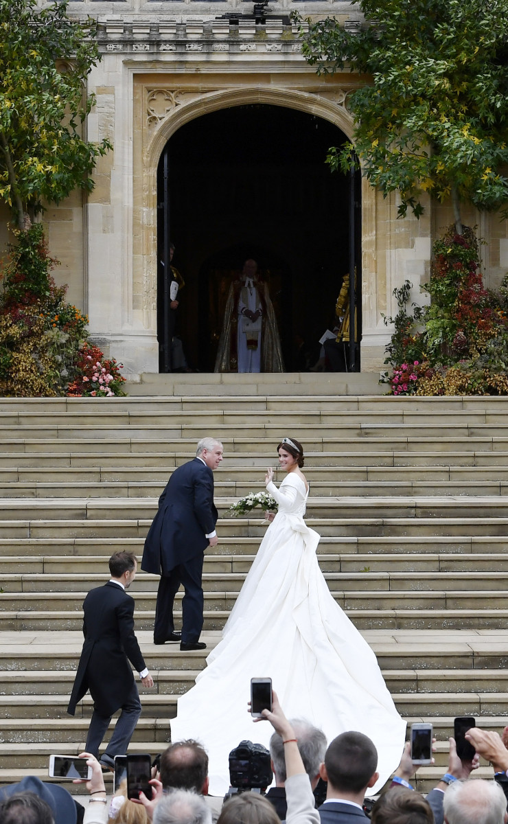 Princess Eugenie of York and her father Prince Andrew, Duke of York arrive ahead of the wedding of Princess Eugenie of York and Mr. Jack Brooksbank at St. George's Chapel on October 12, 2018 in Windsor, England. (Photo by Toby Melville - WPA Pool/Getty Images)