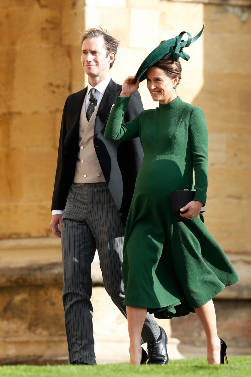 James Matthews and wife Pippa Middleton (C) arrive ahead of the wedding of Princess Eugenie of York and Mr. Jack Brooksbank at St. George's Chapel on October 12, 2018 in Windsor, England. (Photo by Adrian Dennis - WPA Pool/Getty Images)