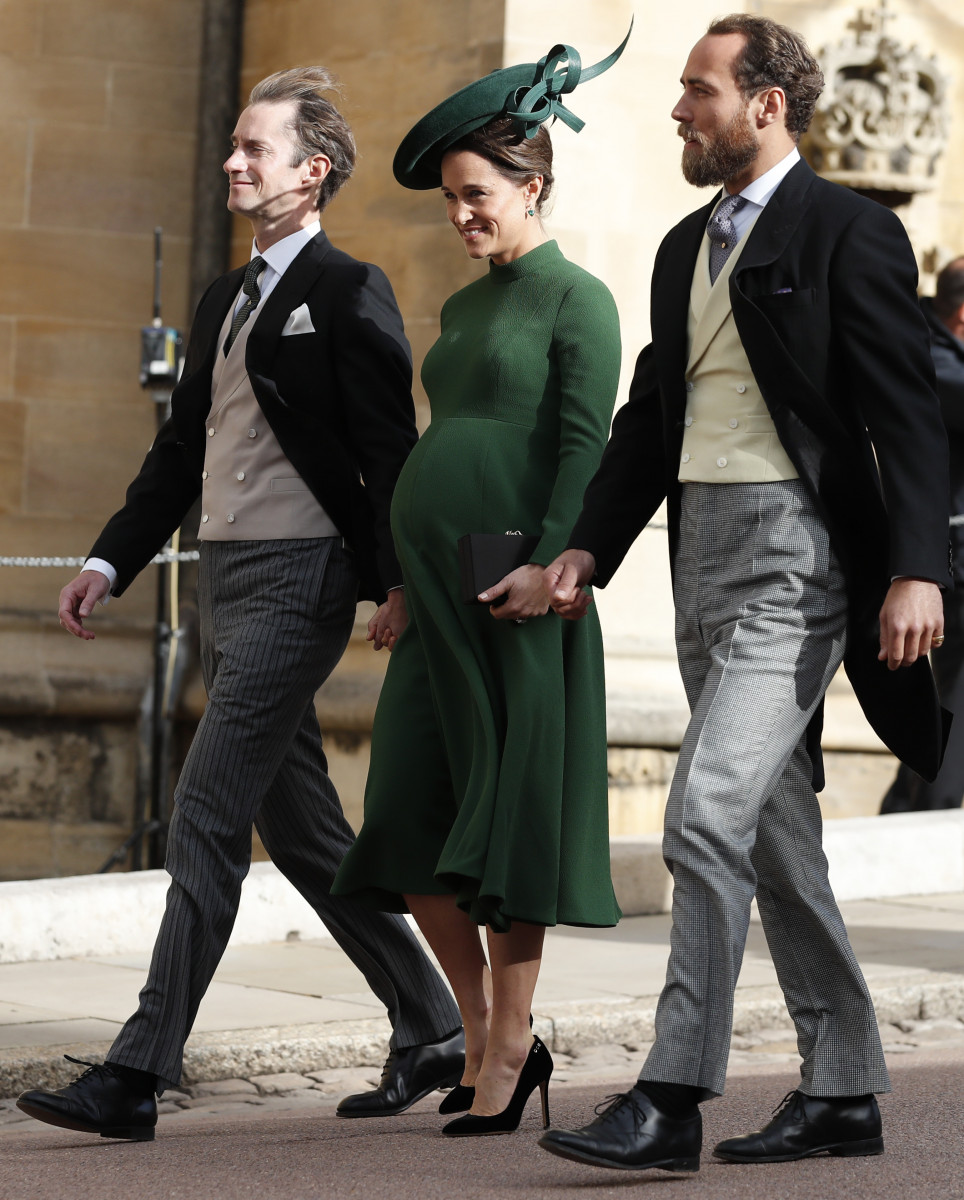 James Middleton, Pippa Middleton and James Matthews arrive for the wedding of Princess Eugenie of York and Jack Brooksbank at St George's Chapel, Windsor Castle on October 12, 2018 in Windsor, England. (Photo by Alastair Grant - WPA Pool/Getty Images)
