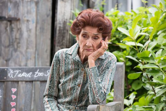 Dot Cotton smoking a fag