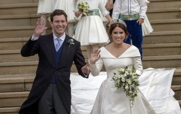 Princess Eugenie and Jack Brooksbank leave St George's Chapel in Windsor Castle following their wedding on October 12, 2018 in Windsor, England. (Photo by Steve Parsons - WPA Pool/Getty Images)