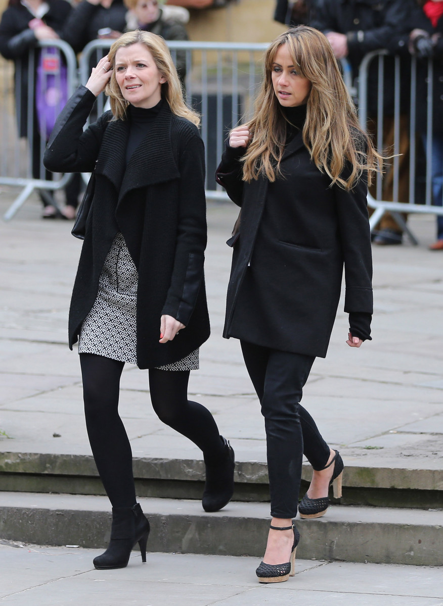 Coronation Street actors Jane Danson (L) and Samia Ghadie arrive for the funeral of Coronation Street