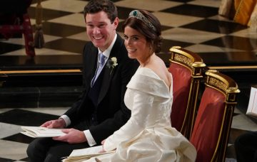 Jack Brooksbank and Princess Eugenie of York during their wedding ceremony at St. George's Chapel